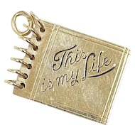Vintage 14k Gold Moving Charm, This is My Life ~ Scrap Book circa 1950's