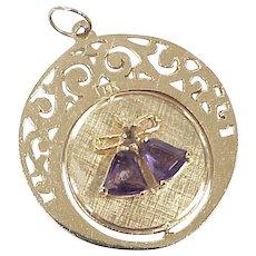 Large Jeweled Spinning/Moving Vintage Charm Bride & Groom/Wedding Bells