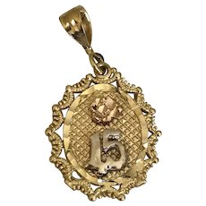 15th Birthday Quinceanera Charm 14K Gold Tri-Color