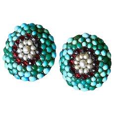 Victorian Earrings Persian Turquoise, Bohemian Garnet & Seed Pearl