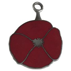 Poppy Military Remembrance Vintage Charm Sterling Silver Red Enamel