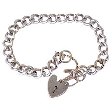 Vintage Curb Link Bracelet With Heart Lock Clasp Sterling Silver c.1940's
