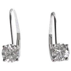 Diamond Drop Earrings 14K White Gold 1.0 ctw