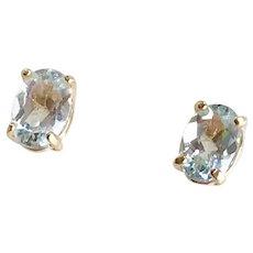 Aquamarine Stud Earrings 14K Gold .82 Carats Total Weight