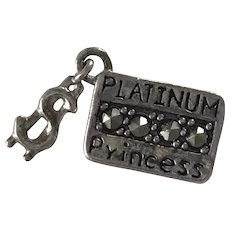 Credit Card & $ Charm Sterling Silver and Marcasite, Platinum Princess
