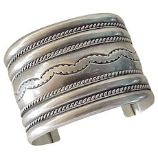 Navajo WIDE Cuff Bracelet Nine Band Sterling Silver, Nora Tahe 87 Grams
