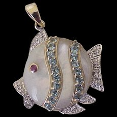 Jeweled Tropical Fish Pendant 14K Gold, Ruby, Diamond, Blue Spinel & Mother of Pearl