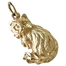 Long Haired CAT Vintage Charm 14K Gold