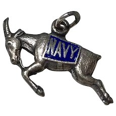 US Navy Mascot WWII Sweetheart Vintage Charm Sterling Silver c.1940's