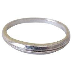 Vintage 18K White Gold Tapered Wedding Band or Stack Ring