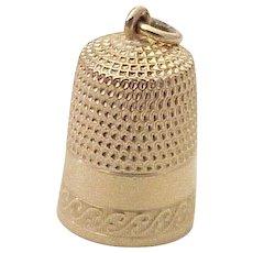 Vintage Sewing Thimble Charm 14K Gold Three Dimensional
