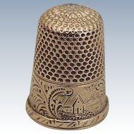 Edwardian Era Sewing Thimble Solid 14k Gold, Size 6, Ornately Engraved