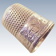 Simons Bros. Sterling Silver Sewing Thimble Engraved Scenic Design