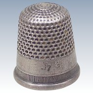 Vintage Sterling Silver Sewing Thimble by Larkin size 7