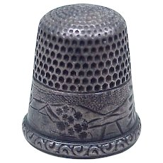 Vintage Sterling Silver Sewing Thimble by Simons Brothers size 10
