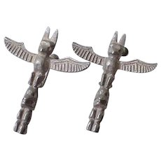 Vintage Native American Totem Pole Earrings c.1940's Sterling Silver Screw Back