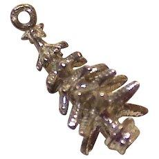 Christmas Tree Charm Three-Dimensional Sterling Silver