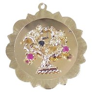 Large 14k Gold Vintage Jeweled Charm, Tree of Life or Family Tree circa 1960's