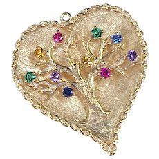 Tree of Life Large Vintage Charm 14k Gold Colorful Jeweled Accent
