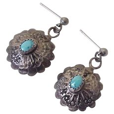 Native American Crafted Dangle Earrings Sterling Silver & Turquoise Circa 1970's