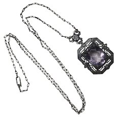 Edwardian Necklace Sterling Silver Amethyst and Marcasite