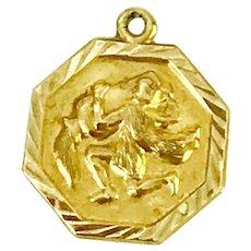 Aquarius Vintage Zodiac Charm 14k Gold circa 1960's