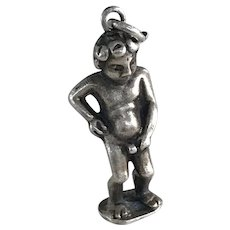 "Three Dimensional 835 Silver Manneken Pis ""Peeing"" Boy of Brussels Circa 1960"