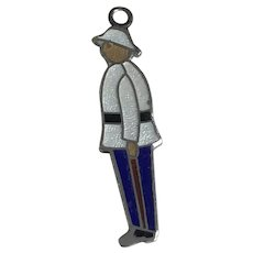 Bahamian Police Officer Vintage Charm Sterling Silver Colorful Enamel