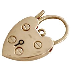 Working Vintage Heart Lock Charm 9K English Gold, Clasp or Safety