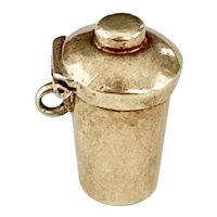 Cocktail Shaker Vintage Moving Charm 14K Gold Three-Dimensional