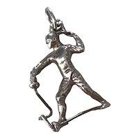 Fencing Sport Vintage Charm Sterling Silver Three-Dimensional