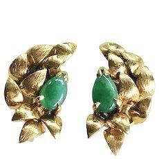 Vintage Jade & 18K Gold Screw-Back Earrings