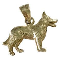 German Shepherd Dog Vintage Charm 14K Gold