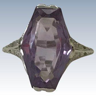 Art Deco Amethyst Ring 14K White Gold Filigree