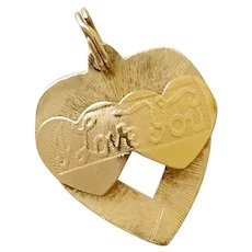"Romantic Vintage Charm 14K Gold Hearts ""I Love You"""