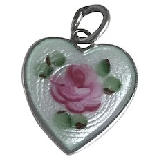 Floral Heart Vintage Charm Hand Painted Glass Enamel