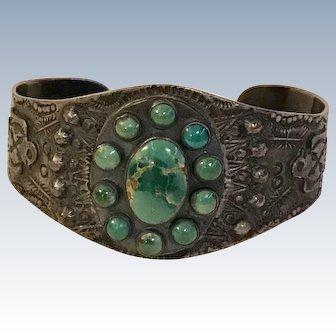 Native American Cuff Bracelet Sterling Silver Green Turquoise Fred Harvey / Railroad Era