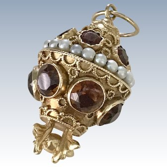 BIG Jeweled Bauble Charm 18K Gold Madeira Citrine & Cultured Pearl