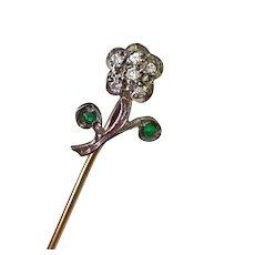 Edwardian Jeweled FLOWER Stick Pin 14K Gold Diamond & Emerald