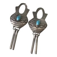Native American Dangle Earrings Sterling Silver & Turquoise, Water Jug Design