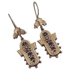Victorian Dangle Earrings Taille d' Epergne Enamel & Seed Pearl