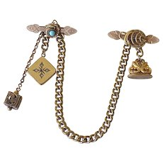 Victorian Vest Chain With Pins, Wax Seal, Locket & Charm Gold Filled
