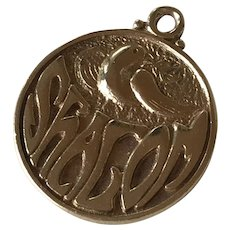Shalom, Peace, Dove, Judaica Charm/Pendant 14K Gold circa 1973