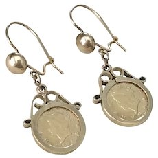 Vintage US Gold Coin 1853 Dangle Earrings in 14K Gold Findings