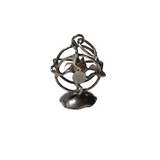 Moving Mechanical Fan Vintage Charm Sterling Silver Three-Dimensional 1940's