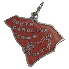 South Carolina US State Vintage Charm Colorful Enamel Sterling Silver