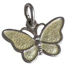 Butterfly Vintage Charm Sterling Silver Guilloche Enamel, Denmark