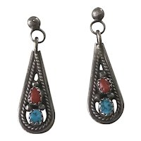 Native American Crafted Dangle Earrings Sterling Silver Turquoise & Red Coral