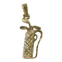 Golf Bag & Clubs Vintage Charm 14K Gold Three-Dimensional