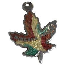 Niagara Falls Maple Leaf Vintage Charm Colorful Enamel Sterling Silver